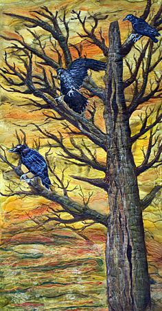 modern art quilt Reduced ravens or crows by BarbaraHarmsFiberArt, $200.00