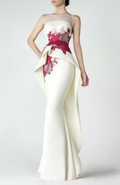 Saiid Kobeisy - 2904 Sleeveless Floral Embroidered Peplum Trumpet Gown in Off-White (peplum high-low detail, ribbon accented slim belt, illusion full back, full length, illusion bateau neck, natural waist)