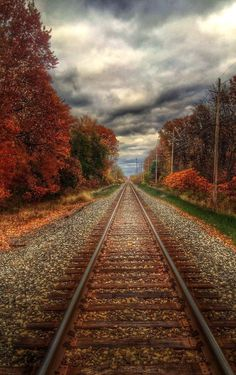 Awesome autumn: Clouds hover above train tracks on a fall day in Northeast Ohio. By Jeffrey Goodman, Trains, Cool Pictures, Beautiful Pictures, Plane Photography, National Weather, Train Art, All Nature, Train Tracks, The Great Outdoors