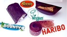 Homemade vegan candies: Reeses peanut butter cups, Haribo sour strips and Bounty bars