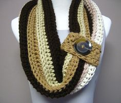 Shades of Brown and Beige Button Cowl