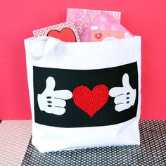 Mickey's Valentine Tote  Template: http://static.spoonful.com/sites/default/files/mickeys-valentine-tote-craft-template-0111.pdf