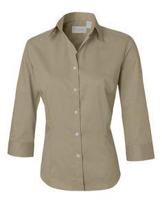 Sandstone Ladies Three-Quarter Sleeve Baby Twill Shirt From Van Heusen 13V0527 FREE SHIPPING