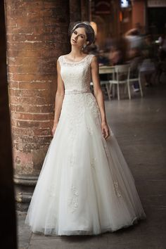 Charming A-line Straps Beading&Sequins Lace Floor-length Tulle Wedding Dresses