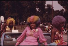 Black Beauties With Colorful Hair Grace A Float During The Annual Bud Billiken Day Parade, August 1973 | U.S. National Archives