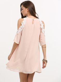 Pink Cold Shoulder Shift Dress -SheIn(Sheinside)