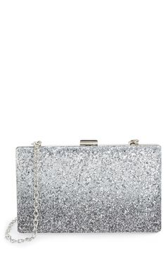 Obsessed with the gradient glitter finish on this evening clutch! Sleek silvertone hardware and a delicate drop-in chain strap add even more interest and functionality.