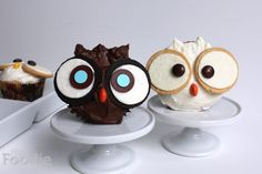 Owl Vanilla Funfetti Cupcakes with Vanilla Buttercream Frosting   KitchenDaily.com