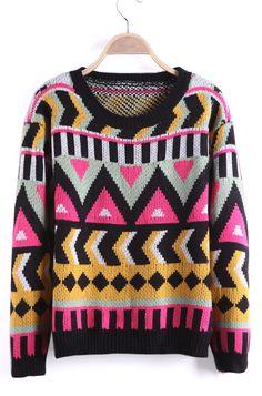 Black Geometric Pattern Tribal Round Neck Sweater - Sheinside.com