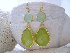 Light Mint Glass &  Peridot Opal Glass Gemstone Earrings, Pale Mint Bridesmaid Earrings, Bridesmaid gift, Beach Wedding, August Birthstone by LetItBeLove on Etsy