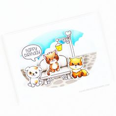 Stamps: Sitting Here Thinking, Cuddle Buddies, Chitter Chatter / Stencils: Cloudy Day, Pave The Way Cloudy Day, Clear Stamps, Cuddle, Squirrel, Stencils, Happy Birthday, Snoopy, Fictional Characters, Happy Brithday