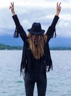 A free spirit in a fringed leather jacket.