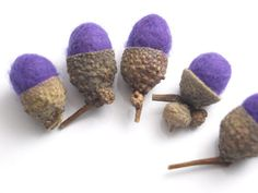 Purple felted acorns by allanamphotography on Etsy, £3.40