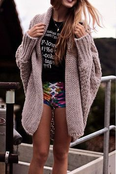 Fashion Loose Solid Color Bat Sleeve Knit Sweater