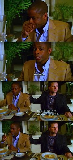 Asthma. He's allergic to rich white people.... #Psych
