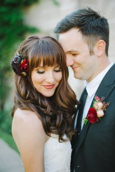 Pin for Later: The Modern Man: 23 Unconventional Ways to Match Your Groom Two Is Better Than One His: Boutonniere.  Hers: Head piece. Source: Photo by Shea Christine Photography via Style Me Pretty
