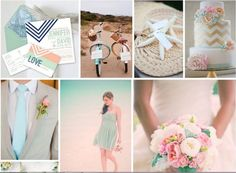 Nautical theme with a twist - color scheme: peach, mint, pink, grey, and navy... lovely and soft