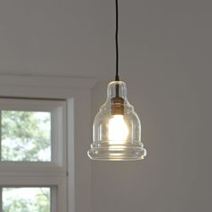 Birch Lane Edison Mini Pendant - This sleek industrial design is emphasized by its clear glass, vintage-style shade, burnished-bronze finish, and filament bulb. Traditional Pendant Lighting, Vintage Silhouette, Traditional Furniture, Birch Lane, Mini Pendant, My New Room, One Light, Glass Shades, Clear Glass