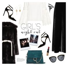 """""""Hey Besties: Girls' Night"""" by catchsomeraes ❤ liked on Polyvore featuring Shrimps, Sea, New York, Jimmy Choo, M Missoni, Chloé, Bobbi Brown Cosmetics, Le Specs, suede, girlsnight and velvet"""