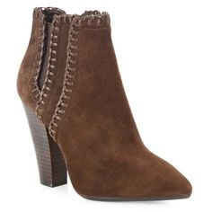 Michael Kors Collection Channing Suede Point-Toe Booties (34.720 RUB) ❤ liked on Polyvore featuring shoes, boots, ankle booties, ankle-boots, nutmeg, michael kors booties, pointy toe booties, michael kors boots, pointed toe boots and short boots