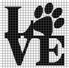 Embroidery Alphabets Bracelets Dog Love (Graph AND Row-by-Row Written Crochet Instructions) – 06 - This crochet graphghan pattern is 135 x 134 squares and comes with the written row-by-row instructions as well as the graph. Cross Stitching, Cross Stitch Embroidery, Embroidery Patterns, Cross Stitch Designs, Cross Stitch Patterns, Graph Crochet, Filet Crochet, Modele Pixel Art, Crochet Squares Afghan