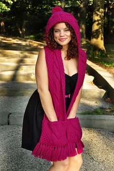 "Ravelry: ""Trifecta"" Cable Knit Hooded Scarf with Pockets pattern by Lauren Riker"