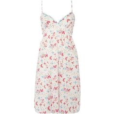 Cyberjammies Ezme print chemise ($17) ❤ liked on Polyvore featuring intimates, chemises, clearance, white, white cotton chemise, white slips, white chemise, cotton chemise and cotton slips