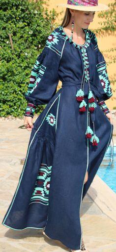 Navy vita kin style vyshyvanka linen Maxi dress mint burgundy embroidery size XS-XXL MX007