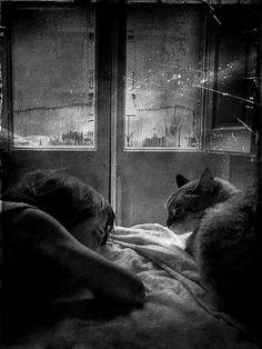 Petite fille et chat (Marta Navarro).