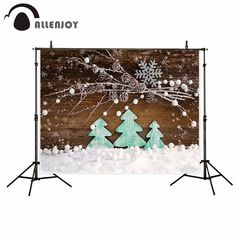 Allenjoy Green Christmas Toy Tree Flower Snow wood board White Balls backgrounds for photo studio photocall