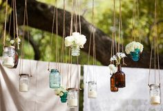 rustic wedding decor | Living Beautifully...One (DIY) Step At A Time: Blue Mason Jars