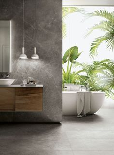 Trilogy from Panaria Ceramica brings together porcelain stoneware, laminated porcelain, and white body tiles to create marble-look tiles in 5 chromatic variations. Bathroom Spa, Bathroom Renos, Bathroom Interior, Modern Bathroom, Small Bathroom, Master Bathroom, Modern Vanity, Bathroom Mirrors, Bad Inspiration