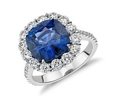 Cushion Sapphire and Diamond Classic Halo Ring in 18k White  Gold (5.71 cts) #bluenile