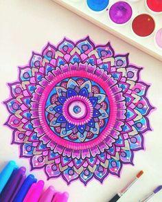 Colorful Mandala and Zentangle Art Inspiration Mandala Doodle, Mandala Art, Mandalas Painting, Mandalas Drawing, Mandala Pattern, Doodle Art, Zentangles, Mandala Tattoo, Tattoo Art