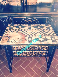 Big chief; sewing table; leopard; tribal; custom painted