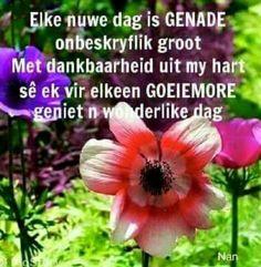 Lekker Dag, Goeie Nag, Goeie More, Afrikaans Quotes, Good Morning Wishes, Quote Of The Day, Tea Party, Lisa, Van