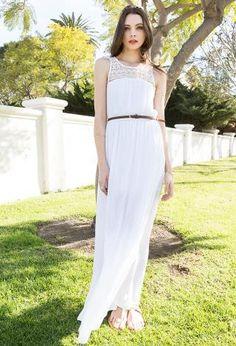 PEDIDOS SOLO POR ENCARGO #PapayaClothing Código: PCD-85 Lace-Paneled Maxi Dress W/ Belt Talla: S-M-L Color: White Precio: ₡28.000 ($52,14)  Información y consultas llamar al teléfono 8963-3317, escribir al inbox o al email maya.boutique@hotmail.com.