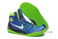 new concept 79ebe c2615 Nike Womens Blue White and Neon Green Kobe 9 Elite Training Sneakers
