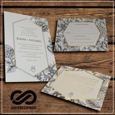 These A5 invitations with A6 RSVP cards and A7 wishing wells are the perfect stationary to set the aura of your wedding. 1 x A5 letterpress invitation with foil stamp (colour of your choice). This will be on a 600gsm card with a deep impression. | eBay!