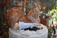 this hilarious (and impressive!) wedding cake was made to look like it had been taken over by squirrels - as happens with every birdfeeder in squirrel-dwelling habitats