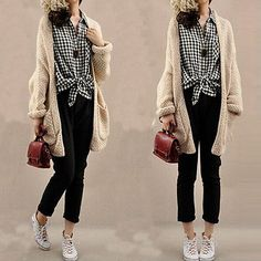 c070116532 New Women Oversized Loose Knitted Sweater Batwing Sleeve Tops Cardigan  Outwear