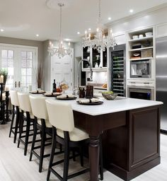 gorgeous kitchen. love the chandeliers. wouldn't need an espresso machine though! #candiceolson #kitchen #hgtv