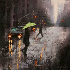 """Rain Day Walkers,"" original figurative painting by artist Chin h Shin (USA) available at Saatchi Art #SaatchiArt"