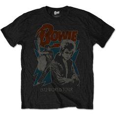 David Bowie Men's Tee: 1972 World Tour Wholesale Ref:BOWTS10MB
