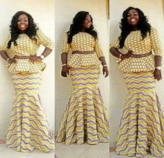 Hello Divas, check out Super Stylish Ankara Skirt and Blouse Styles for Beautiful Ladies.here are the trendious collection of ankara skirt and blouse styles for Latest African Fashion Dresses, African Print Dresses, African Dresses For Women, African Print Fashion, African Attire, African Wear, African Women, Ankara Skirt And Blouse, Peplum Dress