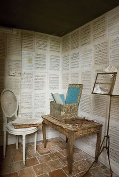 Sheet music on walls, interesting. Maybe not to this extent, but wonder where I could put this setting