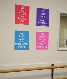 "Set of 4 ""Keep Calm"" Dance Posters: Keep Calm and Dance On, Keep Calm and Point Your Toes, Keep Calm and Stay En Pointe, Keep Calm and Spot Your Turns. Great gift for the dancer or dance teacher in your life"