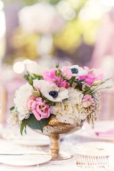 Centerpiece Pink + Anemones | See more on SMP: http://www.StyleMePretty.com/2014/03/18/beverly-hills-wedding-at-greystone-mansion/ Chelsea Nicole Photography