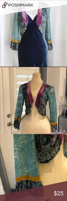 Hale Bob Velvet Shrug 💗 This is a velvet shrug. Really lovely. It is sized Medium but fits like a SMALL. I'm a 36D and although it fits my shoulders it's not made for a woman built like me. It's for a small breasted girl. But it's lovely. 💕 Hale Bob Jackets & Coats Blazers