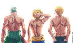 Roronoa Zoro , Monkey D. Luffy , sanji